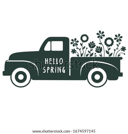 Black and White Retro Spring Flower Truck Illustration on White