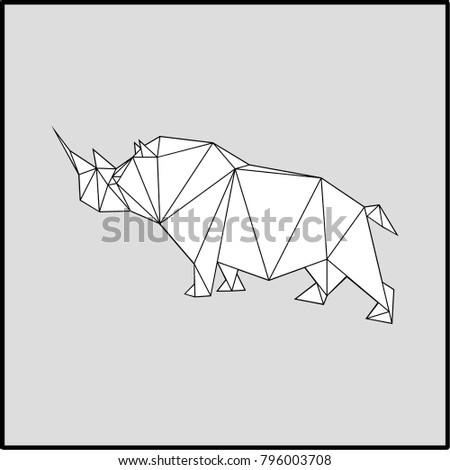 Black and white rhinoceros on gray background