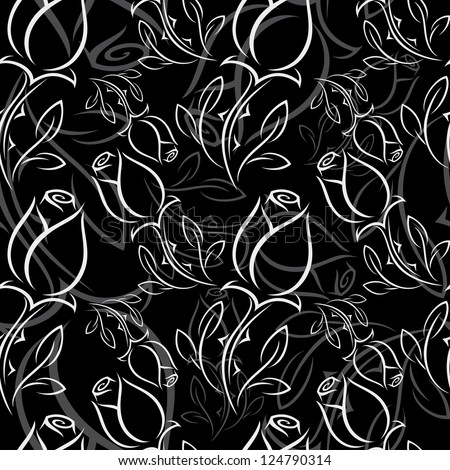 Black and white rose - seamless pattern