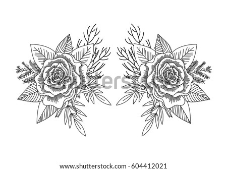 ornate hand mirror tattoo. black and white roses leaves mirror pattern isolated line art hand drawn tattoo style ornate
