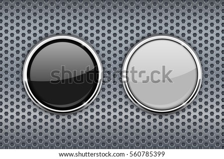 Black and white round glass buttons with chrome frame. On metal perforated background. Vector illustration.