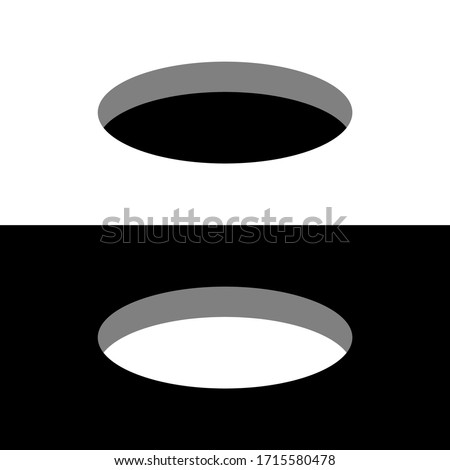 Black and white round holes on a surface 3D perspective view.  Foto stock ©