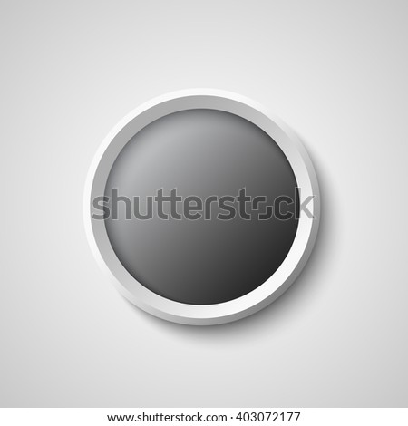 Black and white round web button. Vector illustration.