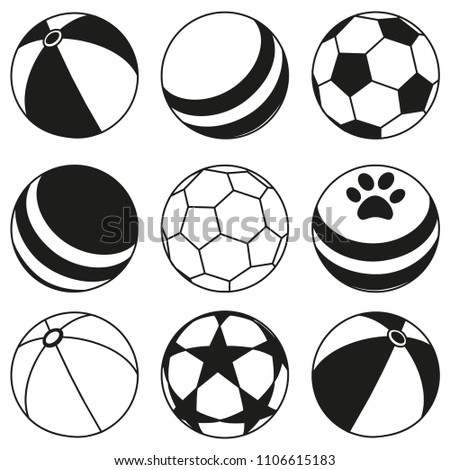 Black and white rubber ball silhouette set. Simple toy for domestic animal. Pet care themed vector illustration for icon, sticker, patch, label, badge, certificate or gift card decoration