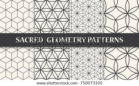 black and white sacred geometry pattern set