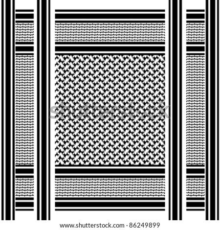 black and white scarf background with arab seamless pattern, shemagh
