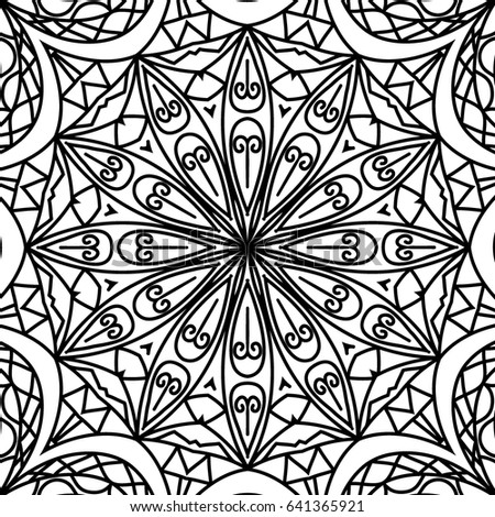 Black and White Seamless Orient Pattern. Adult Coloring Book Page. Moroccan or Arabic Ornament for Tile, Seamless Texture, Fabric. Mandala Style