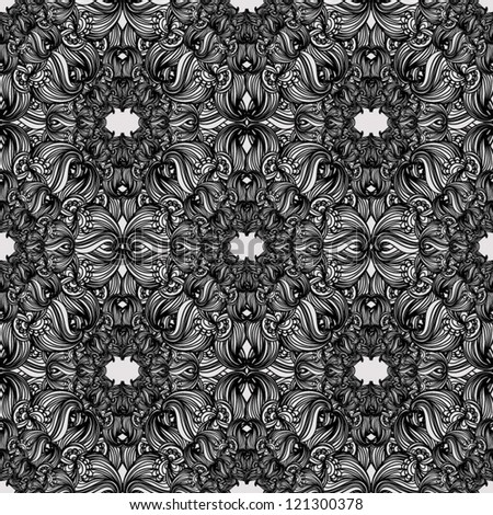 Black and white seamless pattern  Abstract seamless background  baroque pattern
