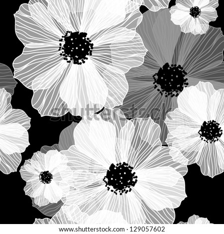 Black and white seamless pattern Abstract seamless background with flowers