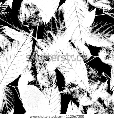 Black and white seamless pattern  Abstract seamless pattern with leaves