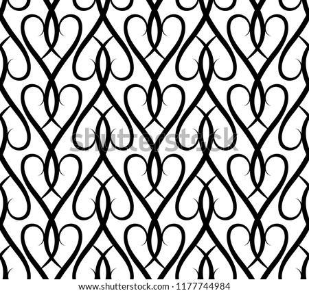 Black and white seamless pattern, herringbone ornament, swirly vector background
