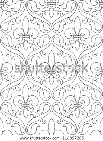 Black and white seamless pattern of french lilies