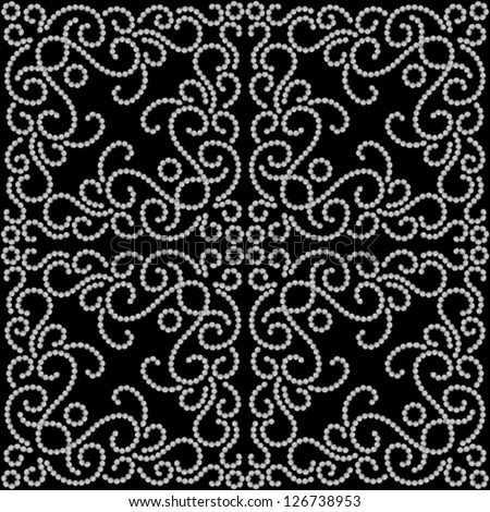 Black and white seamless pattern, vector dotted swirls