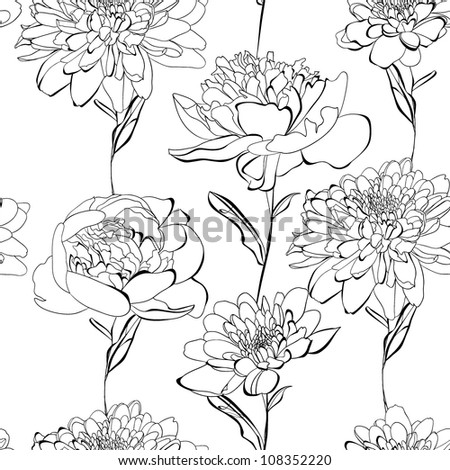 Black and white seamless pattern with a lot of flowers