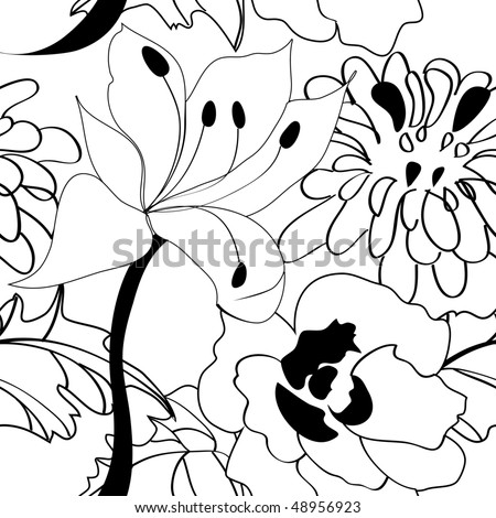 flowers pictures black and white. stock vector : Black and white