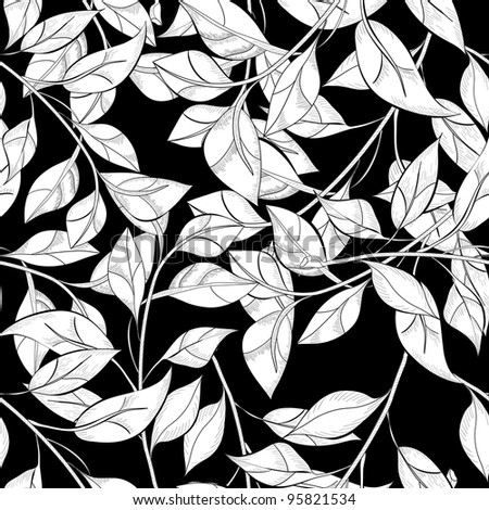 Black and white seamless pattern with leaves