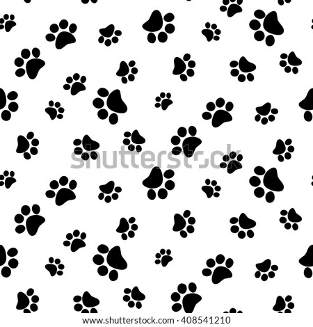 Black and white seamless pattern with paw prints. Abstract background, animal footprint, vector illustration.