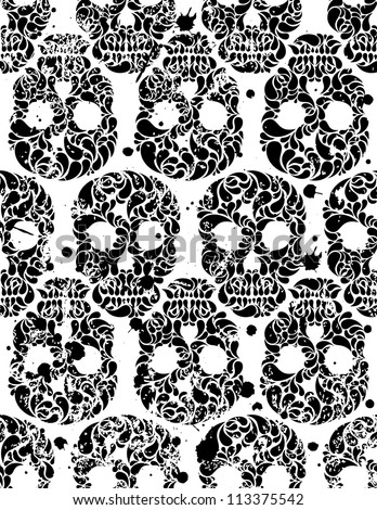 Black and white seamless pattern with skulls and blots in grunge style. EPS 8 vector illustration.