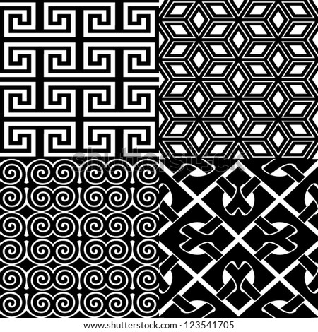 Black and white seamless patterns set