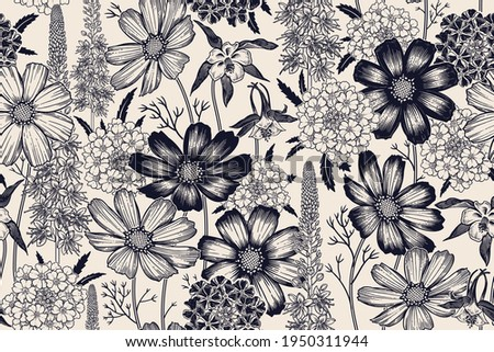 Black and white seamless spring floral pattern. Flowering plants. Vintage vector. Cute garden flowers. Victorian style. Luxurious summer textiles, paper, wallpaper decoration. Ornamental cover. Foto stock ©