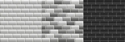 Black and white seamless textures of subway tiles. Set of vector grayscale bricks wall