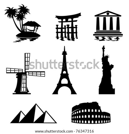 black and white set icons - travel and landmarks - stock vector