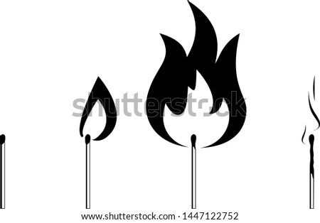Black and white set of different matches. Contains new match, burning match, burnt down match with smoke.