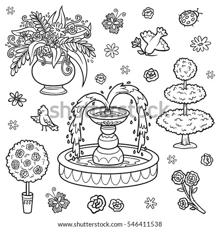 Black and white set of objects from the royal garden. Vector cartoon fountain, flowers, bushes for a princess