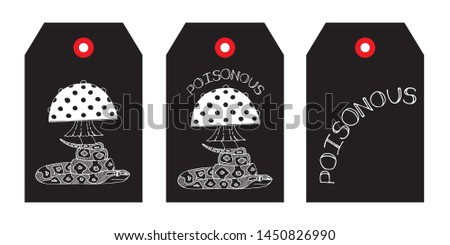 Black and white set of tags or labels templates with fly agaric, snake and lettering. Hand drawn style illustration. Vector.