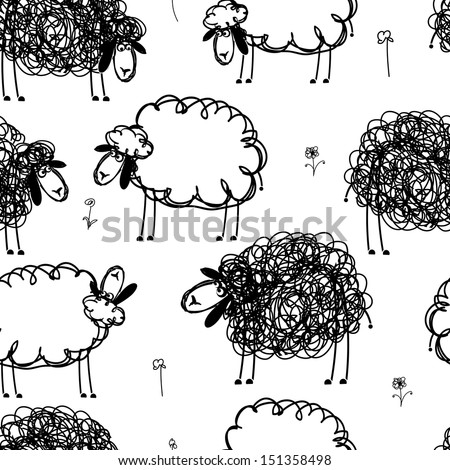 black and white sheeps on