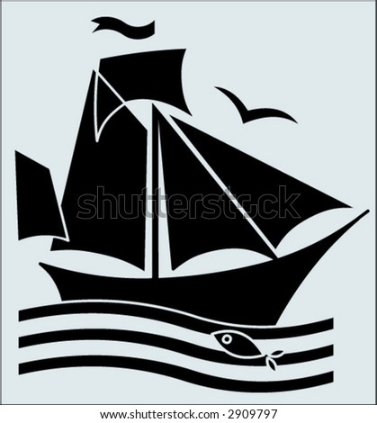 black-and-white ship in retro style
