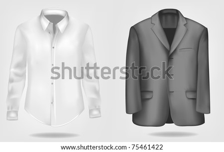 Black and white shirt and suit. Vector illustration