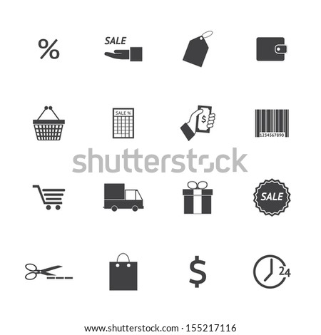 Black and White Shopping icons set. Illustration eps 10