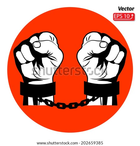 Black and white sign Man hands sign Hand with clenched a fist , hands in handcuffs red circle  isolated on a white background vector