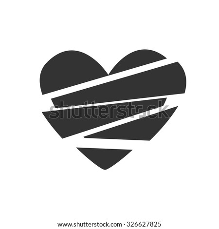 Black and white sign, vector symbol Icon broken heart
