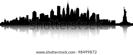 Black and white sihouette of the New York skyline.