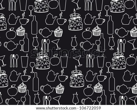 black and white silhouette food background. vector illustration
