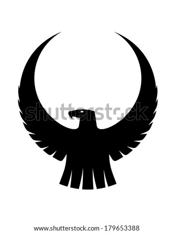 Black And White Silhouette Of  Eagle Wings Silhouette