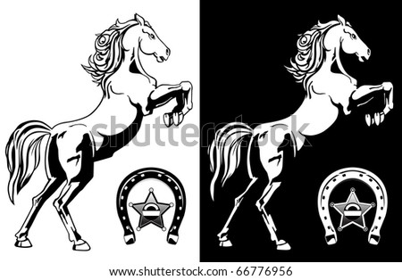 black and white pictures of horses. stock vector : lack and white