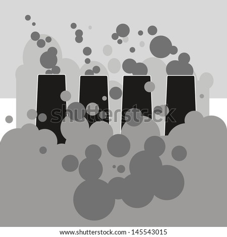 black and white silhouettes of industrial chimney atmospheric pollution clouds.
