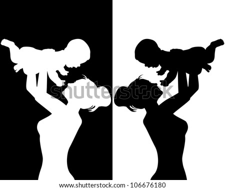 black and white silhouettes of mother and child
