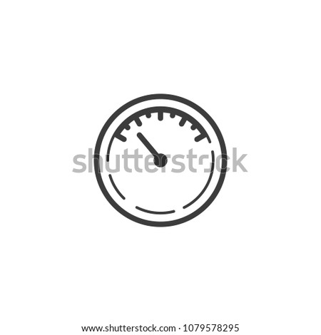 Black and white simple line art outline icon of meter