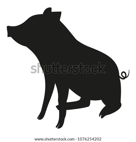 Black and white sitting pig silhouette. 2019 year chinese symbol. Farm animal vector illustration for icon, sticker sign, patch, certificate badge, gift card, stamp logo, label, poster, web banner