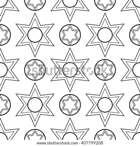 black and white  six pointed