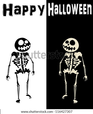Black and White Skeleton. Happy Halloween