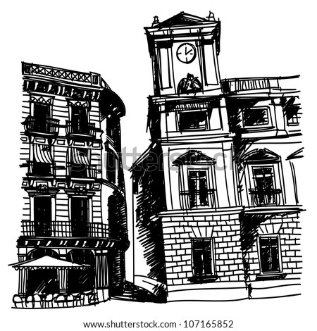 Black and white sketch drawing of a small square of old european city with classical buildings