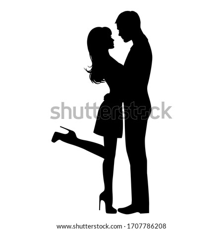 Black and white sketch image of a kissing couple. Lovers, kiss. Valentine's Day. Vector illustration
