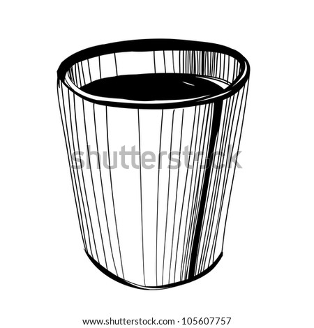 Black and white sketch of  coffee or tea or coffee mug over white background