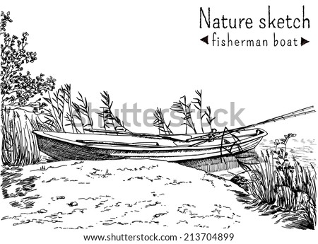 Black and white sketch of fisherman boat at a shoe of lake or river, with fishing roods in it. Trees and grass growing on the lakeside with reeds. Vector illustration.