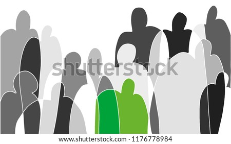 Black and white sketch on theme of society. One human figure is highlighted in green to focus on personality. Building relationships in society as guarantee of adaptation in life. Vector isolated.